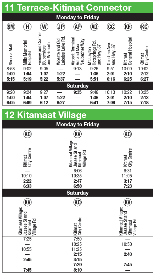 Saturday Transit Service For Kitamaat Village To Terrace
