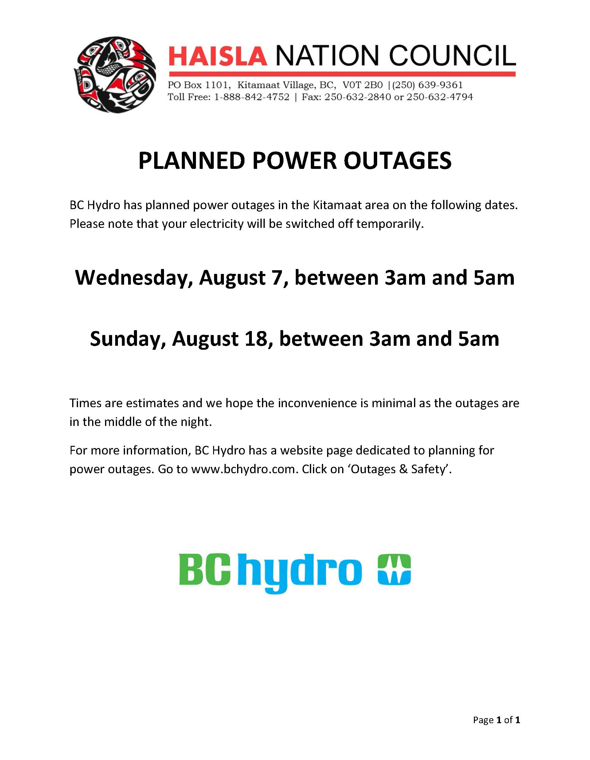 Kitamaat Power Outages - August 7 & 18, 3am to 5am - Haisla Nation