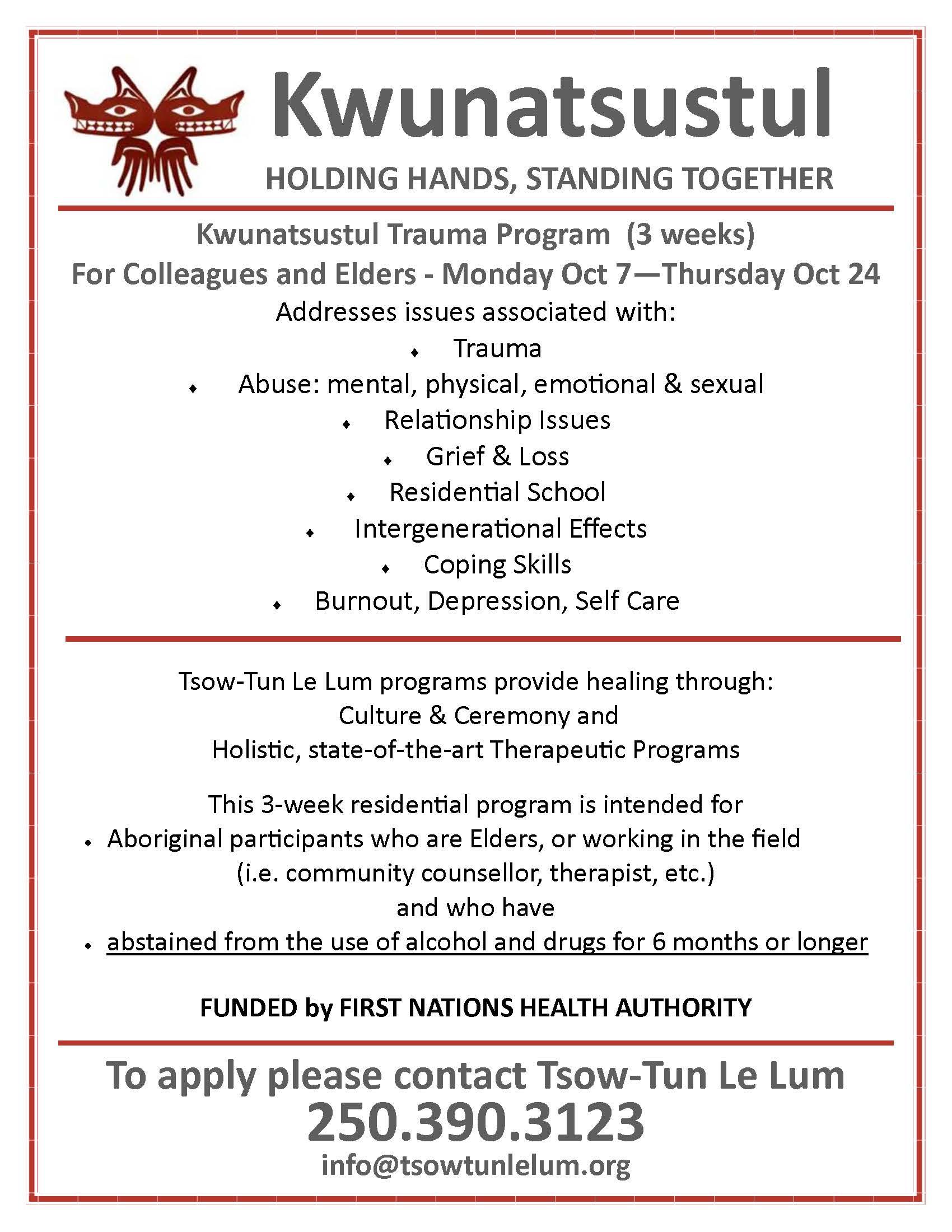 Trauma Program for Colleagues & Elders - October 2019